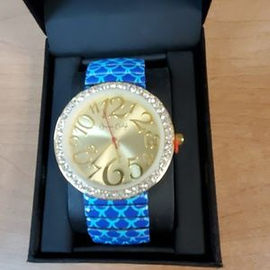Jessica Carlyle Gold Watch Blue Band Man or Woman